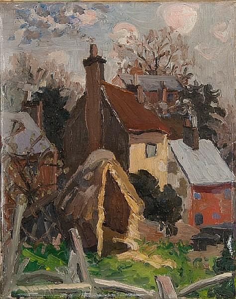 Lucy Harwood (British, 1893-1972) Rear of houses, High Street, Upper Layham.