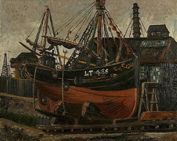 Denise Broadley (1914-2007) Lowestoft fishing smack in a boatyard