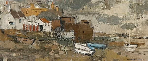 George Hammond Steel (British, 1900-1960) Harbour scene, Cornwall