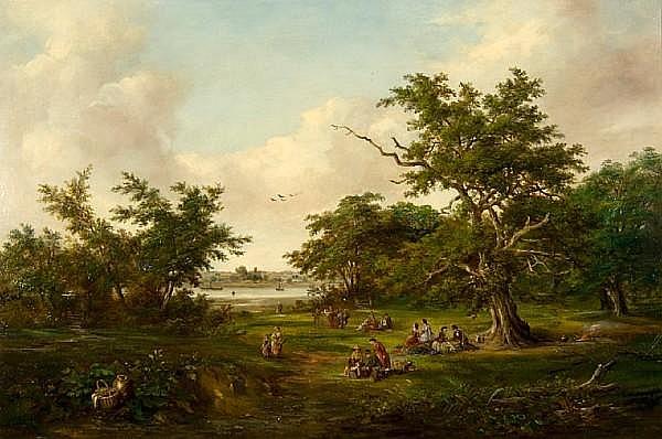 Robert Burrows (1819-1883) Picnic at Gainsborough beside the Orwell
