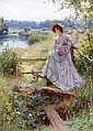 William Affleck (British, 1869-1943) 'Where Woodbines hang their dewy heads' An elegant lady in a straw bonnet and holding a book, waiting by a stile before a river, William Affleck, Click for value