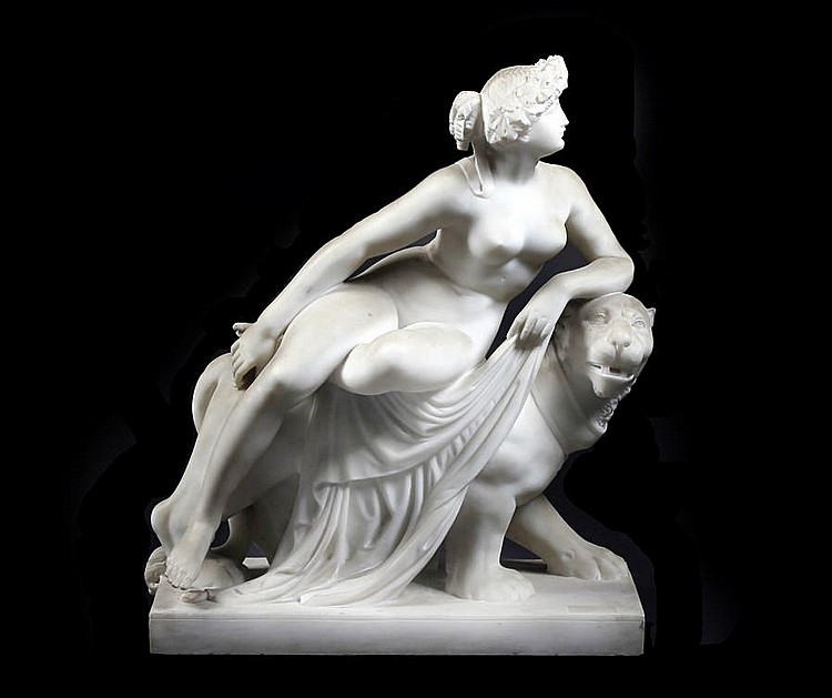 A 19th Century carved white Carrara marble figure group of Ariadne and the pantherAfter Johan Heinrich von Dannecker, (1758-1841)