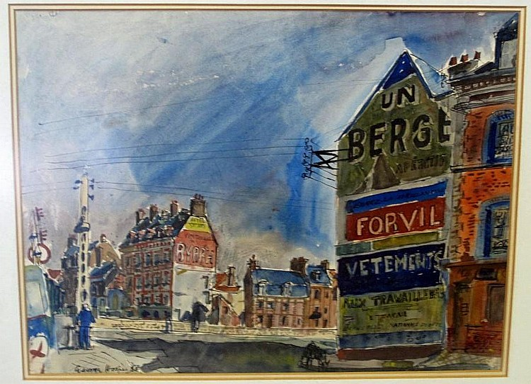 George Hooper, French Townscape, watercolour
