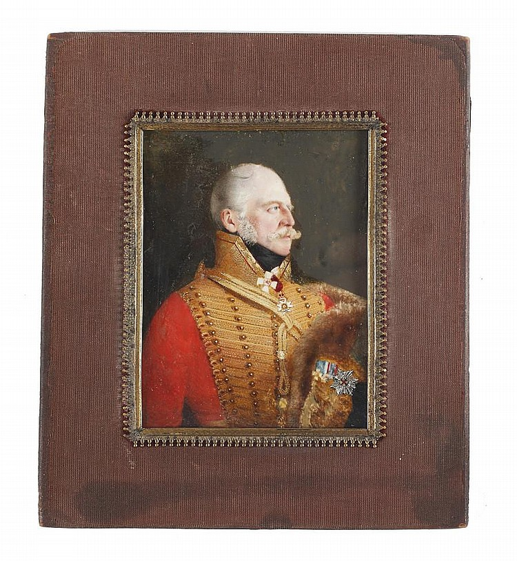 Attributed to George Lethbridge Saunders (British, 1807-1863) Ernest Augustus I (1771–1851), King of Hanover (1837-1851), in profile to the right, wearing red coat with heavy gold lace and standing collar, his black cloak with fur standing collar and