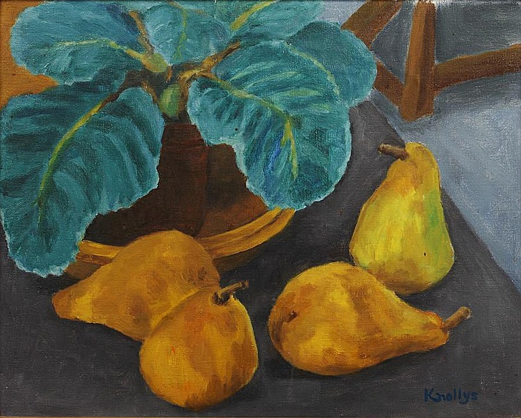 Eardley Knollys (British, 1902-1991) 'Gloxinia and pears'