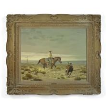 Melvin Warren (1920-1995) Cowboy and steer 24 x 30in framed 36 x 42in (Painted in 1965.)