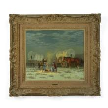 Melvin Warren (1920-1995) Wagon camp 20 x 24in framed 32 x 35in (Painted circa 1960s.)