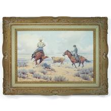 Melvin Warren (1920-1995) Two cowboys roping a steer 24 x 36in framed 36 x 48in (Painted circa 1960s.)