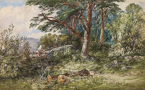 James Ferrier (British, born circa 1840-died circa 1900) A figure by a stile in the Highlands