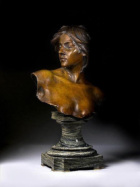 Emile Jespers, Belgian (1862-1918) A bronze bust of a woman
