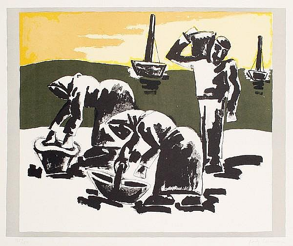Josef Herman (British, 1911-1999) Fisher Folk Lithograph in colours, 1997, on wove, signed and numbered 135/150 in pencil, with full margins, 565 x 765 mm (22 1/4 x 30 1/8 in)