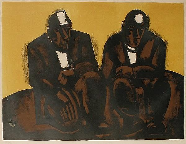 Josef Herman (British, 1911-1999) Two Miners Lithograph in colours, 1960, on wove, signed and numbered 74/75 in pencil, printed by Curwen Studio, London, 470 x 675 mm (18 1/2 x 26 1/2 in) (I)