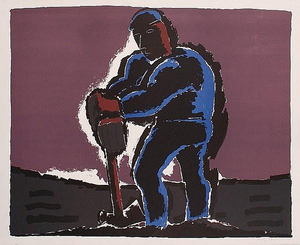 Josef Herman (British, 1911-1999) Figure Against a Dark Sky Lithograph in colours, on wove, signed in pencil, a proof aside from the numbered edition, with full margins, 530 x 690 mm (20 7/8 x 27 3/16 in)