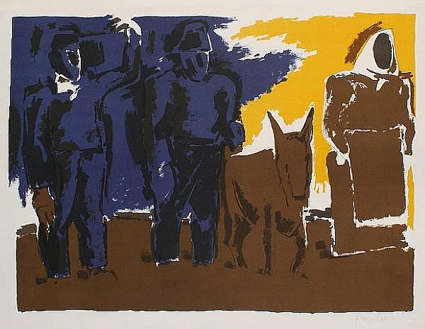 Josef Herman (British, 1911-1999) Dusk Lithograph in colours, 1965, on wove, signed in pencil, a proof aside from the numbered edition of 50, with full margins, 500 x 750 mm (19 6/8 x 29 1/2 in)