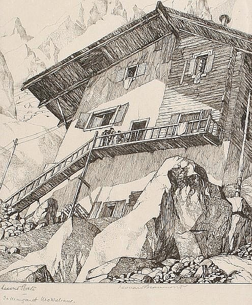 Leonard Beaumont (British, 1891-1986) Swiss Chalet Engraving, on wove, signed and inscribed 'second state' in pencil, 215 x 175 mm (8 4/8 x 6 7/8 in) (PL)