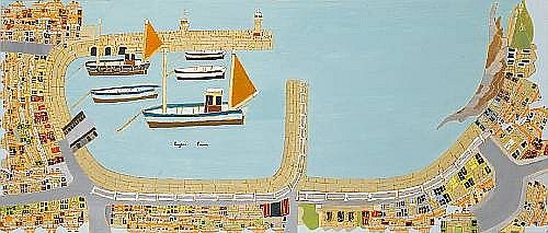 Bryan Pearce (British, 1929-2006) St Ives Harbour I, 1965 50.8 x 117 cm. (20 x 46 in.)