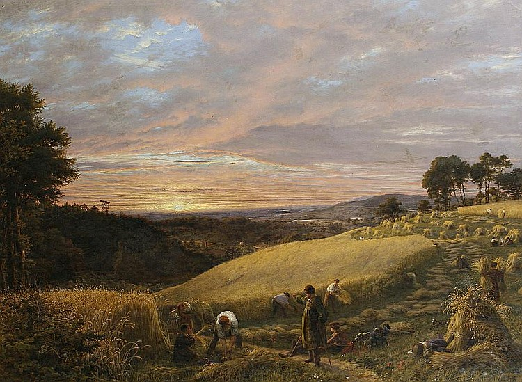 James Thomas Linnell (British, 1820-1905) Harvesting at sunset