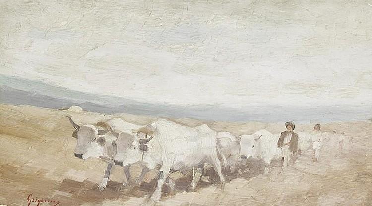 Nicolae Grigorescu (Romanian, 1838-1907) The bullock cart