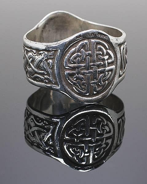 A silver napkin ring
