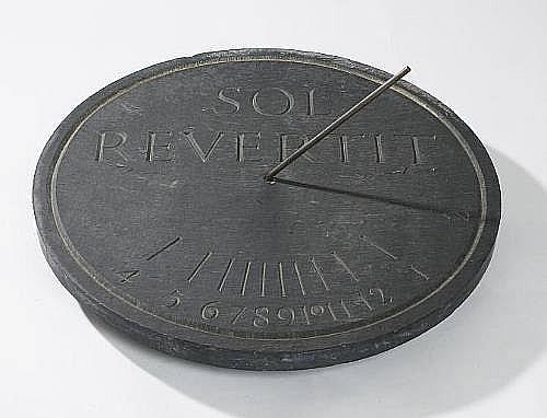 A slate sundial by Ian Hamilton Finlay (1925-2006) and Mark Stewart,