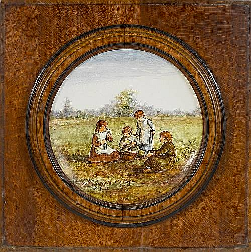 Linnie Watt for Doulton Lambeth An Impressive Framed Faience Circular Plaque with Children, 1875