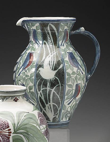 Laurence McGowan `Birds and Leaves' A Bellied Stoneware Jug, 2008