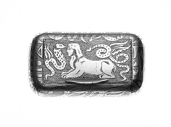 A George III silver snuff box, by Abstainando King, London 1805, a card case, and two cigarette cases. (4)