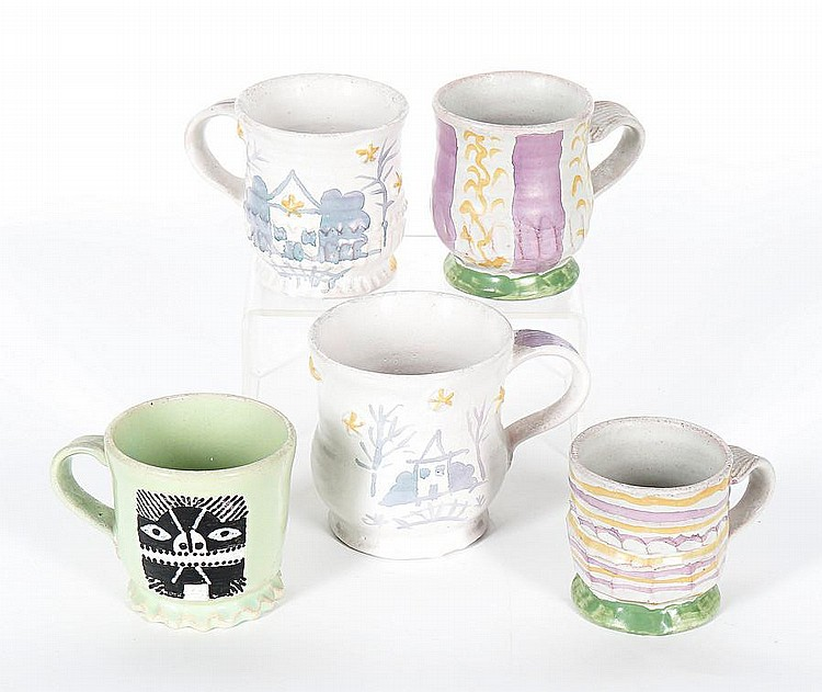 Hylton Nel (South African, born 1941) A group of twelve mugs with various designs the largest 11cm (4 3/8in) high. (12)