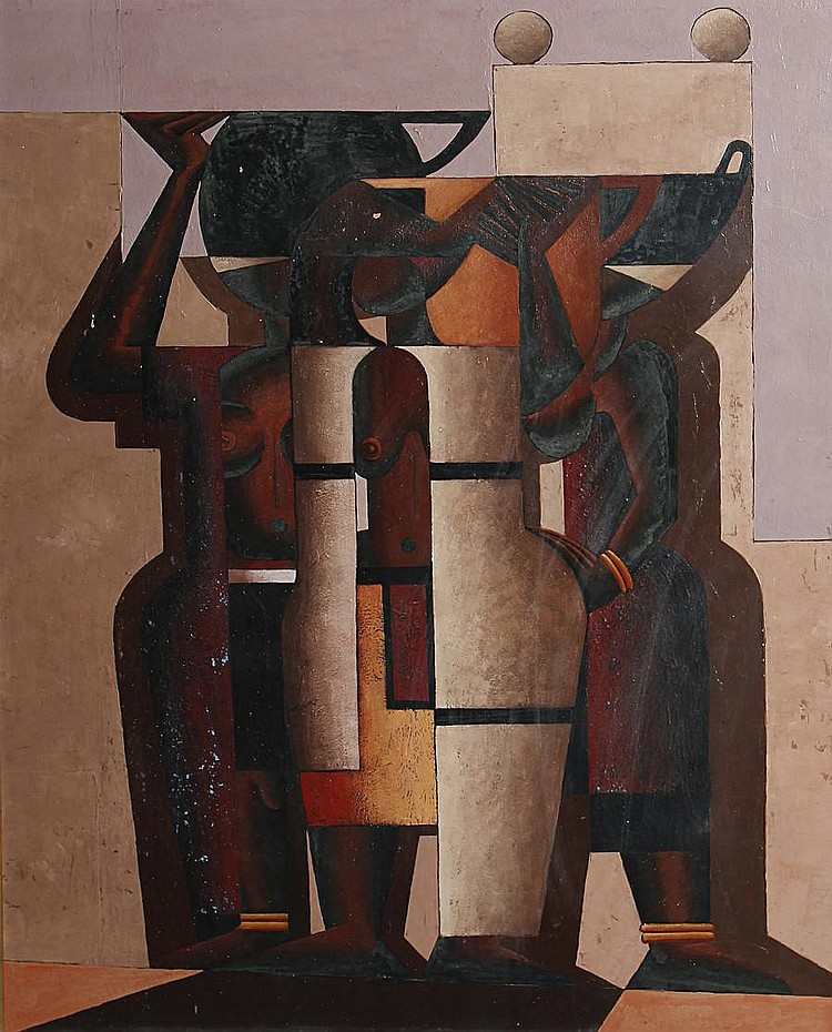 Diederick During (South African, 1917-1999) Abstract figures (recto); Abstract figures (verso)