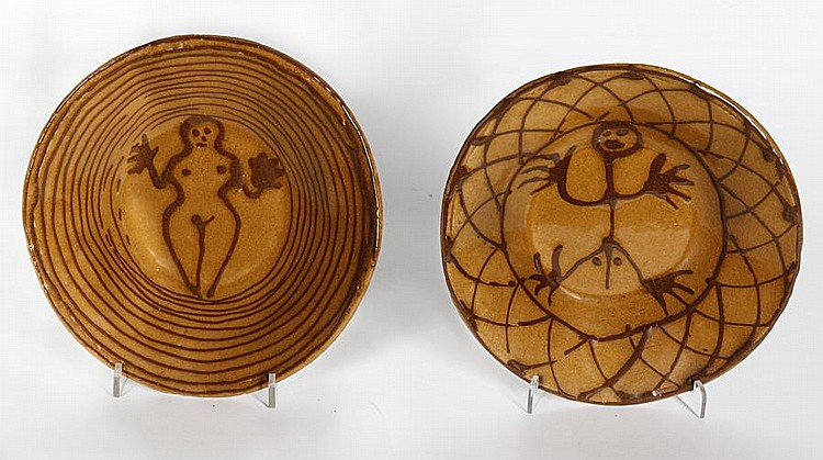 Hylton Nel (South African, born 1941) A shallow bowl with lattice work design surrounding a male figure; A shallow bowl with stripe design surrounding a female figure, a pair each approximately 22cm (8 5/8in) diameter. (2)