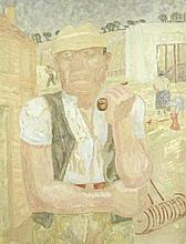 JESSICA DISMORR (BRITISH, 1885-1939)   Portrait of a farmer with a pipe