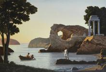 David Ligare (born 1945) Landscape with Three Figures (Teleion) 54 x 78in framed 61 1/2 x 86in (Painted in 1993-1994.)