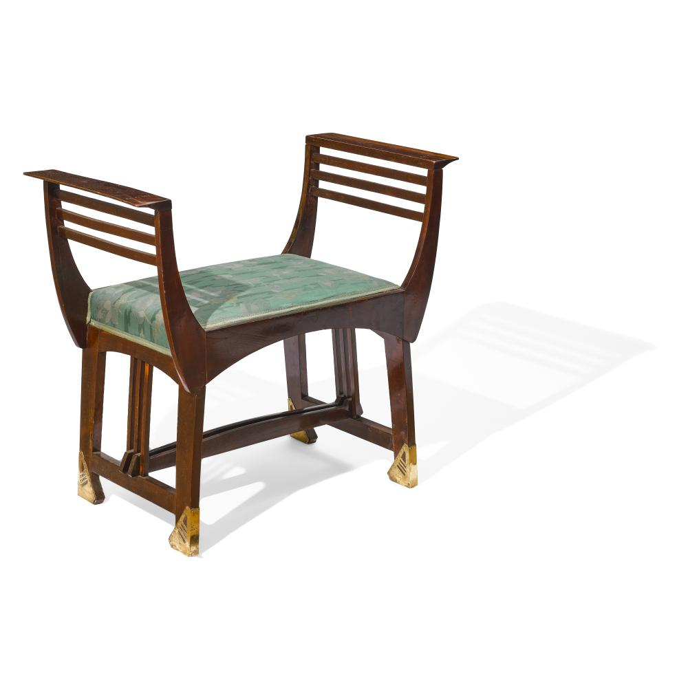 Michael Niedermoser & Sohn (Active 1900) Benchcirca 1900lacquered mahogany, brass, upholsteryheight 27 1/2in (69.8cm); width 30 5/8in (77.6cm); depth 15 3/4in (40cm)