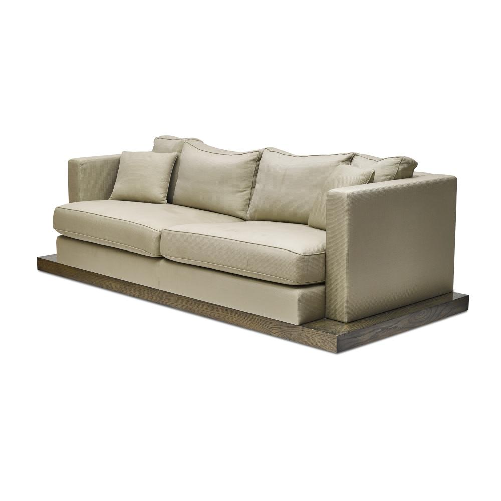 Christian Liaigre (1943-2020) Custom Emile Sofa2006for Holly Hunt, mahogany, silk, cottonheight 37 1/4in (94.6cm); width 96in (243.8cm); depth 37 1/4in (94.6cm)
