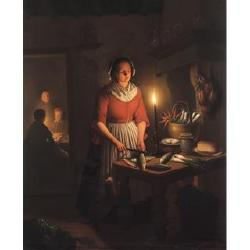 Andreas Franciscus Vermeulen (Dutch, 1821-1884) A candlelight interior 25 x 20in. (63.5 x 51cm.)