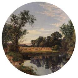 William Beattie Brown, R.S.A. (British, 1831-1909) Fetching water 26 x 26in. (66 x 66cm.) tondo