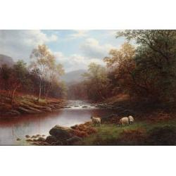 William Mellor (British,1851-1931) On the Wharfe, Bolton Woods, Yorkshire; On the Derwent, near Grindleford, Derbyshire each 20 x 30...