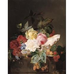 Francois Joseph Huygens (Belgian, 1820-1908) Still life with flowers and berries and a butterfly on a stone pillar 19 x 15in. (48 x...