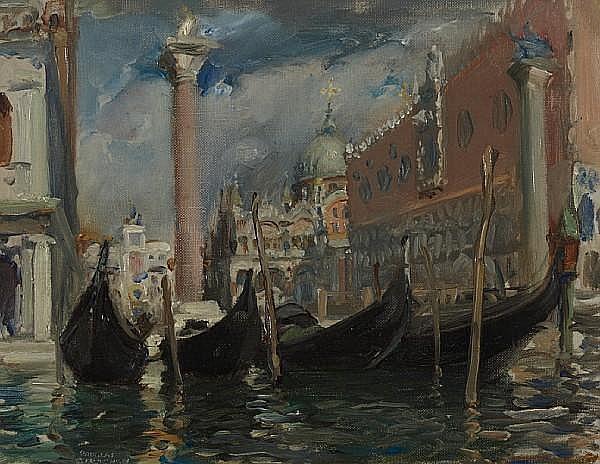 Robert Douglas Strachan (British, 1875-1950) Gondolas Venice