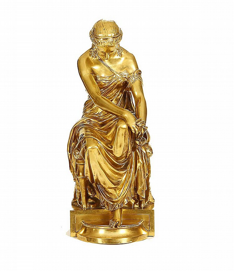 Eugene-Antoine Aizelin, French (1821-1902) A gilt bronze model of a seated Sappho cast by Barbedienne