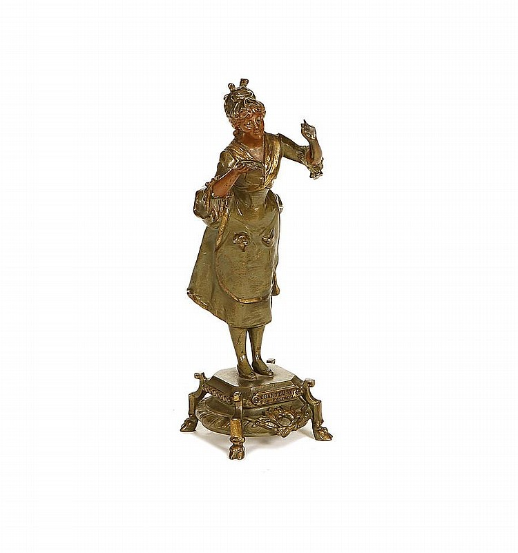 After Ernest Justin Ferrand, French (1846-1932) A cold painted spelter figure of a girl singing