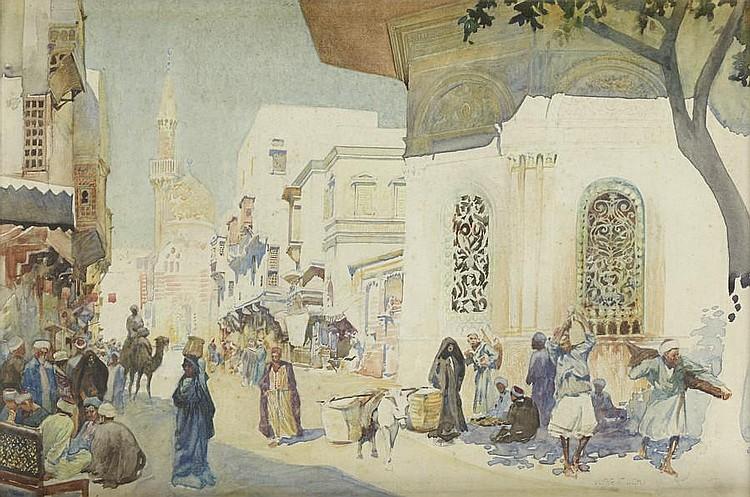 Mariano Bertuchi (Spanish, 1885-1955) A busy street scene