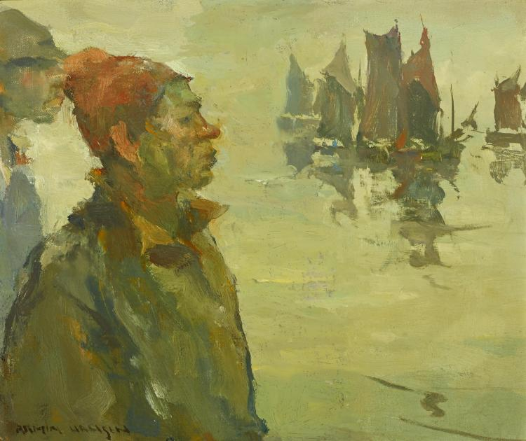 Fishermen in the rain 10 1/4 x 12 1/4in overall: 15 x 17in