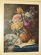 James Barnes (British, ?-died circa 1923) Still Life of roses and sheet music on a table top, James (1870) Barnes, Click for value