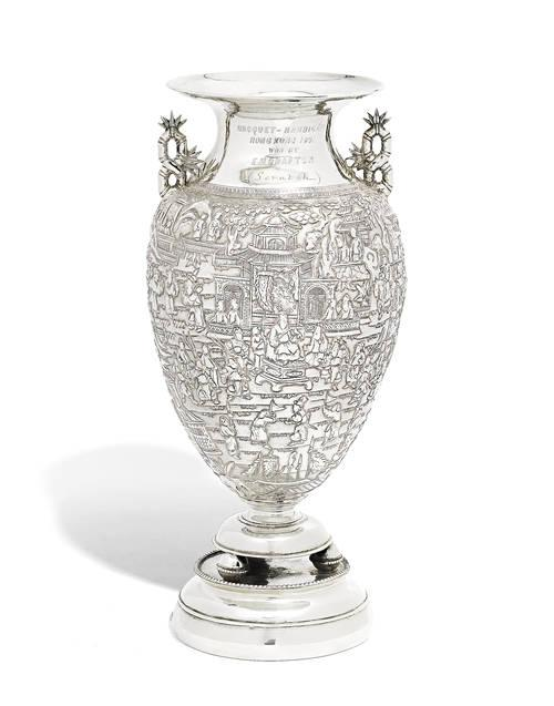 A late 19th Chinese export silver presentation vase