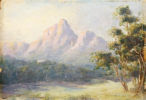 Edward Clark Churchill Mace (British/South African, 1863-1928) Park scene with mountains in the distance