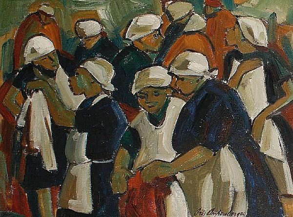 Iris Ampenberger (South African, 1916-1981) 'Jumble Sale'