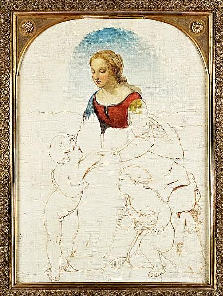 Robert Scott Lauder, RSA (Scottish, 1803-1869) La Belle Jardiniere- study after Raphael