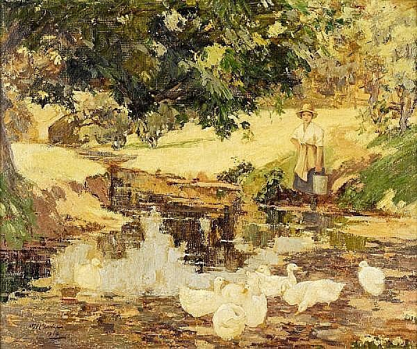William Hannah Clarke (British, 1882-1924) Girl with ducks