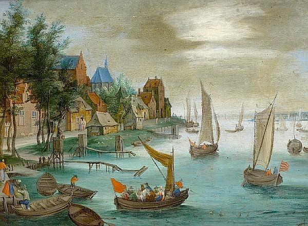 Follower of Jan Frans van Bredael the Elder (Antwerp 1686-1750) Figures disembarking boats before a river landscape